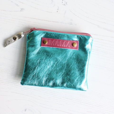 Turquoise leather 'MAMA' coin purse