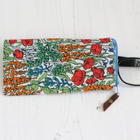 Red floral Liberty fabric glasses case