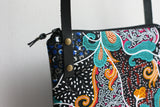 Black Ankara fabric and leather cross body bag