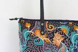 Black Ankara fabric tote bag with leather handles
