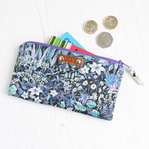 Blue floral fabric JOY purse