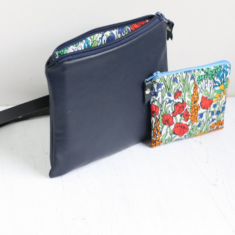 Navy leather & Liberty fabric belt bag with purse