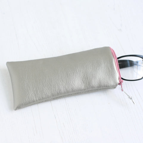 Silver vegan leather glasses case