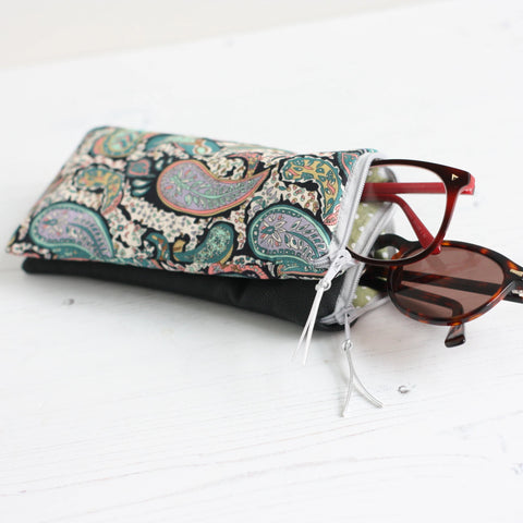 Double glasses case in a Liberty fabric & black faux leather