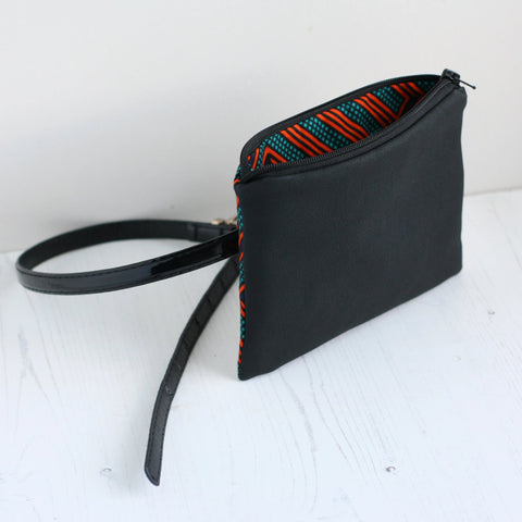 Black vegan leather belt bag (no belt)
