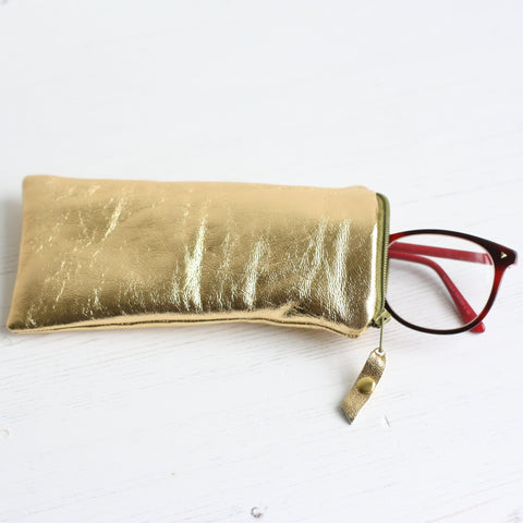 gold leather glasses case by A bag Less Ordinary