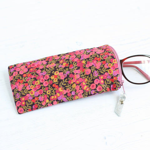 Pink floral liberty fabric glasses case