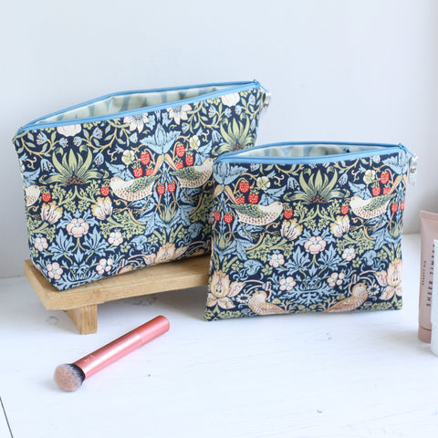 William Morris bird print makeup bag gift set