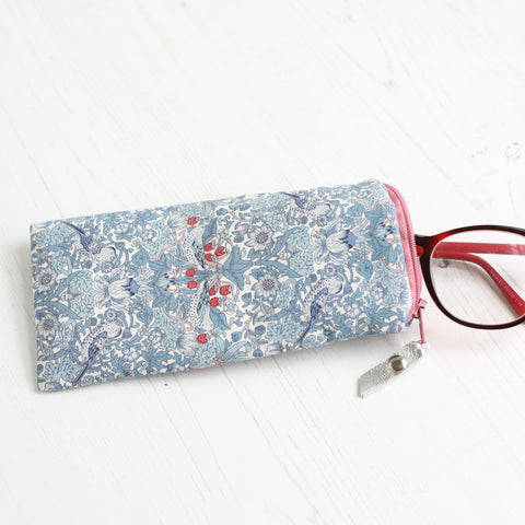 Blue William Morris fabric soft glasses case