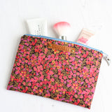 Pink liberty fabric floral equality makeup bag