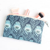 Peacock feather blue Liberty fabric makeup bag