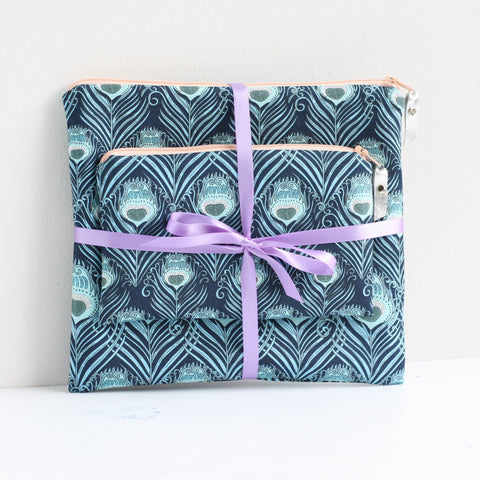 Blue Liberty fabric makeup bag & pouch gift set