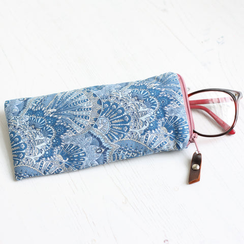 Blue peacock print Liberty fabric glasses case
