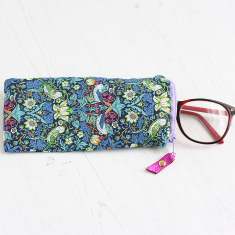 Blue william morris strawberry thief glasses case
