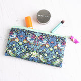 Blue william morris strawberry thief makeup bag
