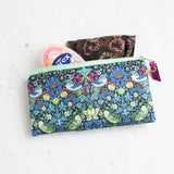 Blue William Morris strawberry thief mini pouch