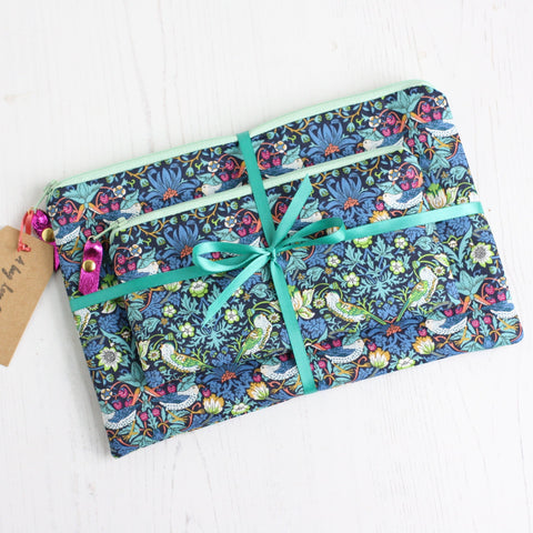 Blue strawberry thief makeup pouch giftset
