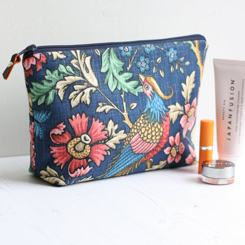 Bird print and floral fabric navy toiletry bag