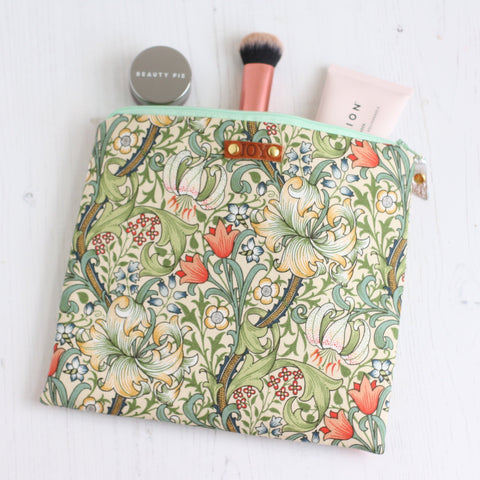 William Morris green floral print makeup bag