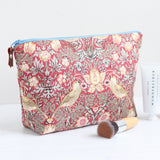 Red William Morris Strawberry Thief toiletry bag