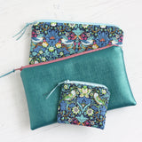 Liberty fabric William Morris fabric accessories and vegan leather purse by A Bag Less Ordinary