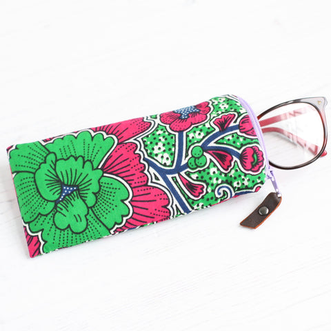 Pink and green African Ankara fabric glasses case by A Bag Less Ordinary