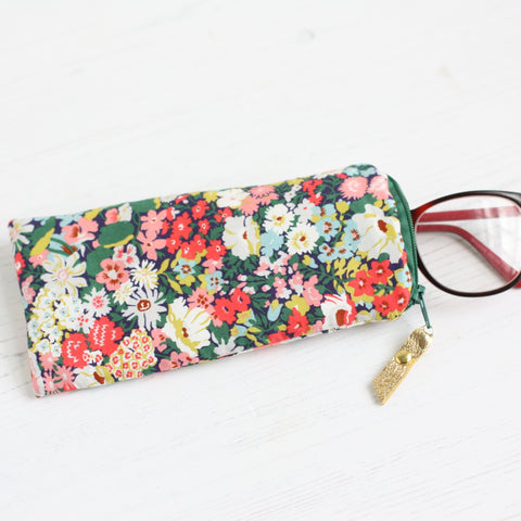 Green and red floral Liberty Fabric glasses case by A Bag Less Ordinary