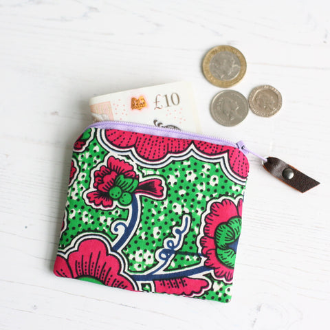 Green and pink floral Ankara coin purse by A Bag Less Ordinary