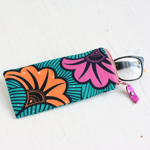 Teal green, pink and orange African, Ankara fabric glasses case by A Bag Less Ordinary