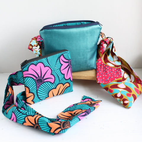 Cross body bag and belt bag gift set made from began leather and Ankara fabric