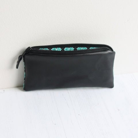 Black leather & green lotus leaf fabric purse
