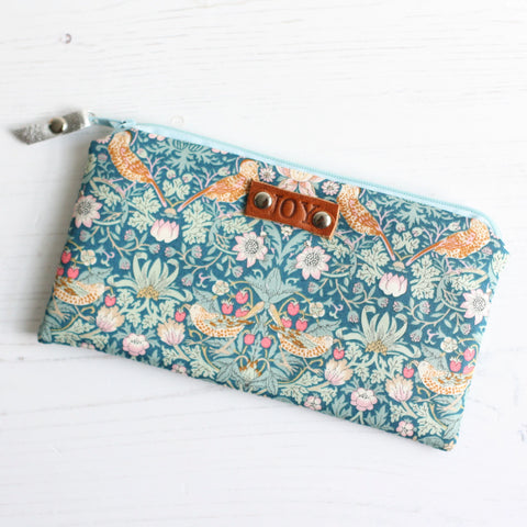 Blue Liberty fabric & leather JOY purse