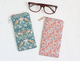 Green fabric Liberty print glasses case