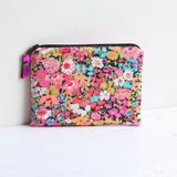 Pink floral Liberty fabric & leather purse