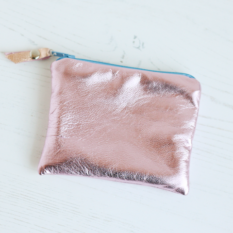 Pink metallic leather coin purse