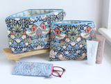 Navy bird print waterproof toiletry bag
