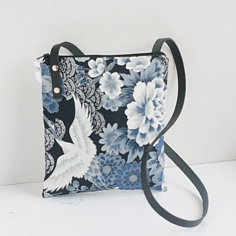Navy Japanese fabric & silver leather cross body bag