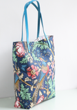 Blue bird tote with leather handles
