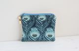 Blue Liberty fabric & gold leather coin purse