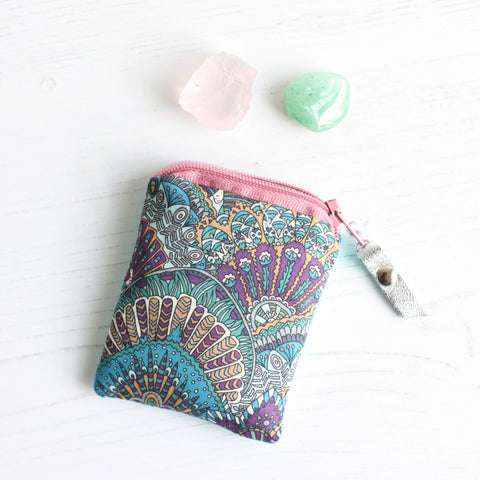 Liberty fabric & leather mini crystal carry pouch