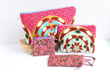 Pink Ankara makeup bag gift set