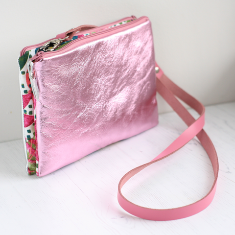 Pink & Silver leather cross body bag