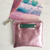 Pink leather 'Dream' coin purse