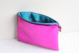 Pink metallic leather & fabric belt bag