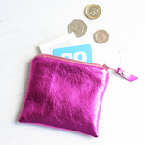 Pink leather coin purse with Ankara lining