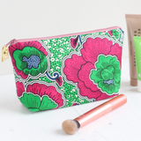 Floral Ankara fabric makeup bag with wipe clean lining