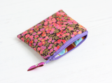Pink floral Liberty fabric coin purse