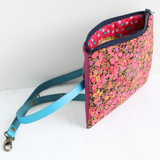 Pink Liberty fabric & vegan leather belt bag (no belt)