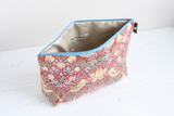 Red William Morris print toiletry bag