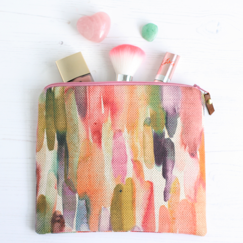 Colourful, water resistant fabric makeup bag